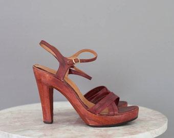 70s WOOD PLATFORM WOODWORKS by Thom McAn platform heels size 7 1/2B