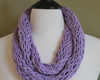 Lavender Finger Knit Organic Cotton Infinity Knit Scarf