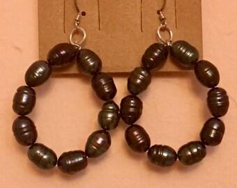 Black Tahitian Pearl Handmade Beaded Hoop Vintage Sterling Silver Hook Dangle Earrings