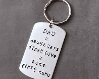 Dad Keychain - Fathers Day Gifts - Fathers Day - Keychains for Dad - First Hero - First Love - Fathers Day from Kids - Gifts from children