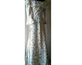 ORIGINAL 70's, Vintage Gypsy Style Dress. Floral Evening Dress, Prairie Dress, Bohemian Dress, Maxi Party Dress, Vintage Tea party Dress.