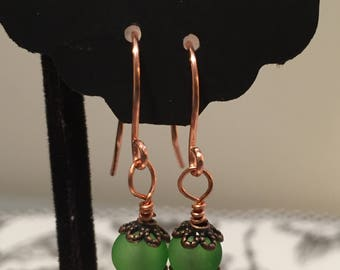 Copper and green bead earrings