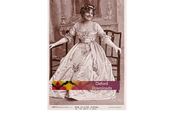SALE Edwardian Postcard, Actress, Fan, Edwardian Dress, Gloves, Printable Postcard, Antique, Digital Download, English Lady, Sepia Art
