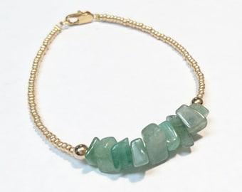 Dainty Minimalist Aventurine, Brass and Czech Crystal Bracelet! Beautiful, Simple and Elegant!