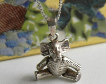 Articulated Sterling Silver Elephant Necklace - Vintage Sterling Silver Articulated Elephant Pendant Necklace - Whimsical Elephant Necklace