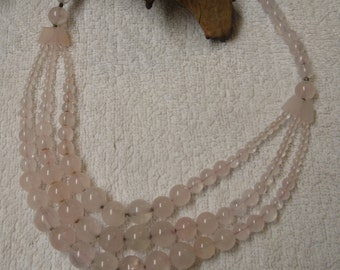 Rose Quartz Long Line Necklace 3 Stranded Drop
