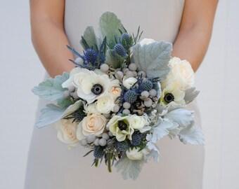 Navy Blue Wedding Flower Package, Dusty Blue Wedding, Anemone Wedding Flowers