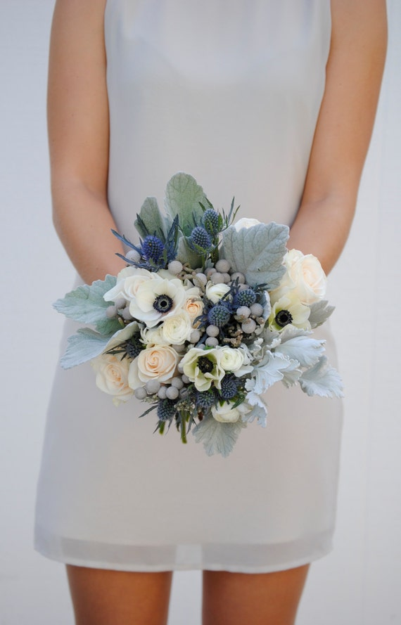 Navy Blue Wedding Flower Package Dusty Blue Wedding Anemone