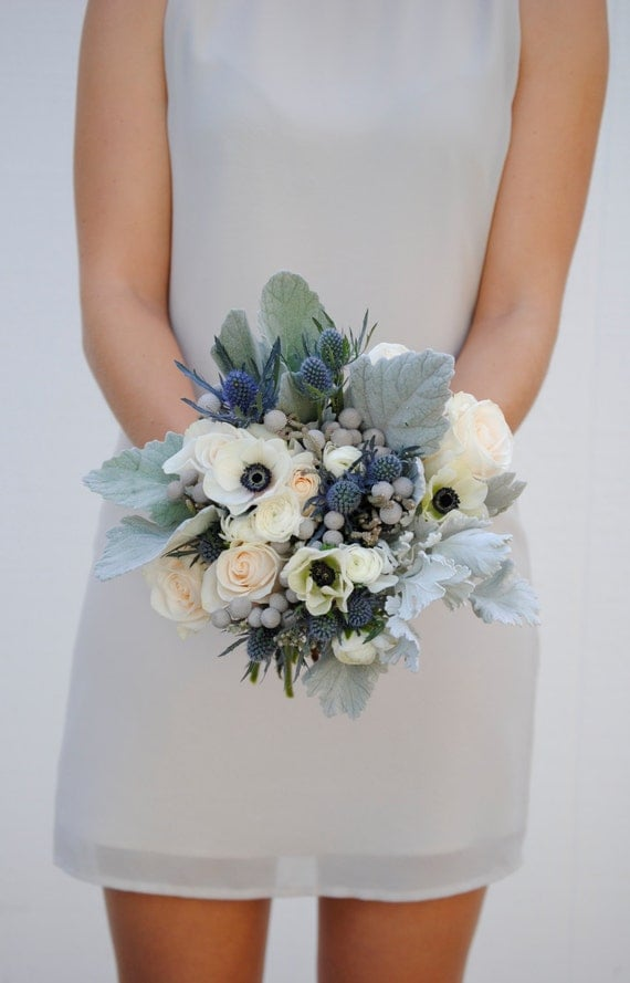 Navy blue wedding flower package dusty blue wedding anemone like this item junglespirit Images