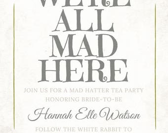 Mad Hatter Alice in Wonderland Bridal Shower Invitation - CUSTOMIZABLE