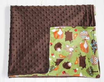 Through the Forest Baby Blanket - baby blanket for boy or girl, baby shower gift, brown minky, comfy fabric, stroller or car seat cover