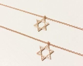Rose Gold Star of David Necklace, Jewish, Jewelry, Bat Mitzvah, Dogeared, Dainty, Jerusalem, Chai, Sister, Magen, Layered, Mazel Tov