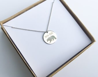 Silver Mama Bear Necklace, Push Present, New Mom, Baby Shower Gift, Mom to Be, Present, Gift for Her, Personalized Jewelry