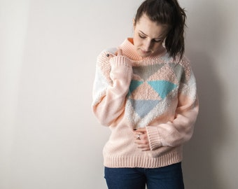80s Vintage Geometric Sweater, Pastel Pink/ Blue/ Grey, Turtleneck