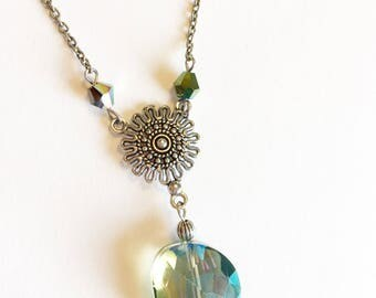 Silver Boho Necklace, Bohemian Necklace, Boho Necklace, Silver Boho Jewelry, Silver Crystal Necklace, Silver Bohemian Necklace