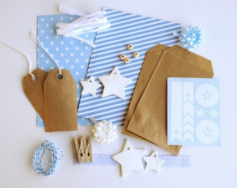 22-piece Blue star gift wrap kit, stars clay tags, light blue envelopes, kraft white blue, scrapbook kit, paper gift bags, pattern envelopes