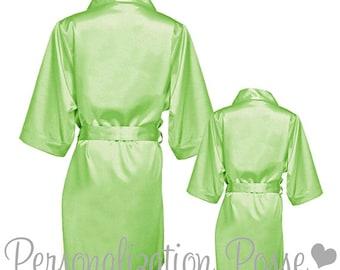 Satin Robe Sale! Wedding Party Robes, Bridal Party Robes, Bridesmaids Robes - Lime Green Satin Robe with Optional Vinyl or Glitter Print