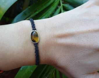 macrame sterling silver bracelet with amber, macrame bracelet