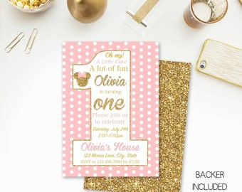 Minnie Mouse Birthday Invitation , pink, gold, soft pink, polka dots, white, First Birthday, Minnie Mouse Birthday Party, digital, MN003