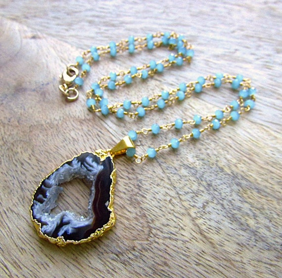 Geode Necklace Blue Bead Necklace Aqua Chalcedony Long