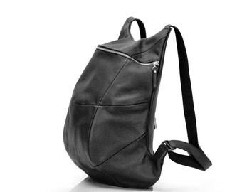 Black Leather Backpack with Segments | Brutal Roomy Downtown Designer Rucksack | Men's Black Leather Backpack | Unisex backpack