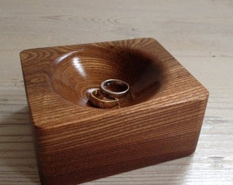 Small wooden bowl, ring bowl, ring dish, finger bowl, Scottish elm bowl, square bowl, wooden, handmade, unique, natural, jewelry (item 102)