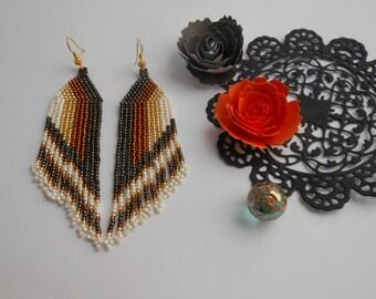 Seed bead earrings Long dangle earrings Beadwoven earrings Beaded jewelry Handmade Jewelry earrings Beautiful earrings Brown beaded earrings