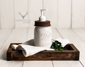 White Mason Jar Soap Dispenser | Rustic Bathroom | Farmhouse Bathroom | Mason Jar Decor | Farmhouse Soap Dispenser | Bathroom Organizer