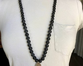 Suede lace / black resin bead necklace