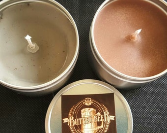 8oz Soy Candle Tin- Butterbeer Soy Candle - Harry Potter Candle