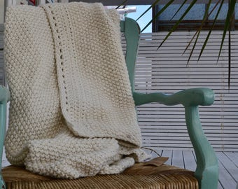 Undyed Merino Wool Throw, Organic Blanket, Unique Eco Friendly Gift, Rustic Knit and Crochet Throw