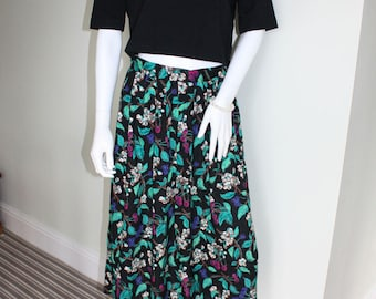 Floral pleated maxi skirt, 1990s festival skirt, floral print skirt, boho skirt, 90s grunge, festival clothes, indie clothes, summer clothes