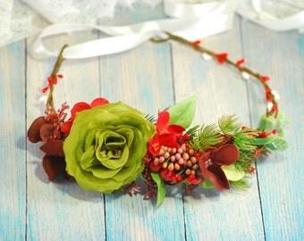 Green flower crown headband Flower crown Floral crown Wedding headband Woodland wedding Wedding halo Bridal floral crown Boho floral crown