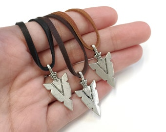 Leather Necklace for men Leather Arrowhead Necklace Deerskin Leather Jewelry for him Gift for husband Gift for boyfriend Gift for Father