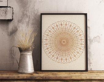 Printable mandala , gold texture  ,Mandala wall art , printable art , vintage print  , zen , doodle art , Digital download , boho , print