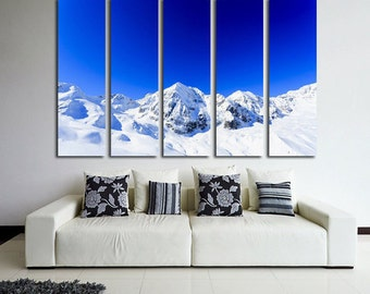 Large Wall Alps Mountain  Canvas Color Alps Multipanel Canvas Snow Canvas Art Large Alps 1-3-4-5 Panel