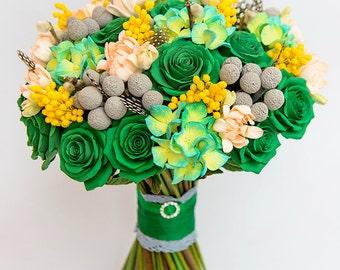 Peony Wedding Bouquet Clay flowers bouquet Bridal bouquet Wedding flowers Clay bouquet