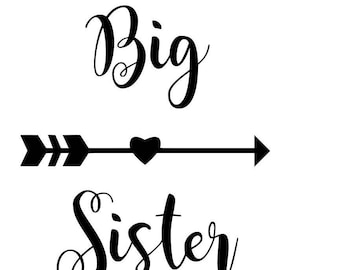 Big Sister Cut File, big sister arrow, big sister svg
