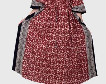 Indian dress, Maternity dress, Zippered dress, Nursing gown, plus size maternity gown, feeding top, night gown, lounge wear (maroon warli)