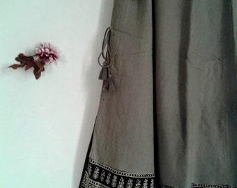 Maxi layer skirt/Free size/Boho/Boheme/coton/cotton hand block print/Made in India/Free Shipment/Livraison offerte