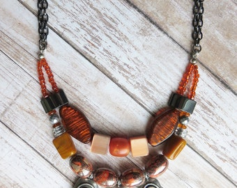 bib necklace statement - Gypsy inspired burnt orange multi strand necklace for a vibrant look - CO347