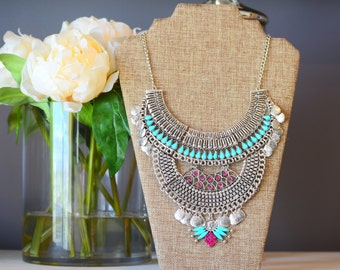 The Sophia silver tribal statement necklace
