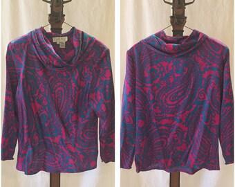 Vintage silk blouse CARLISLE cowl British Hong Kong 8 Turqoise Blue Pink M