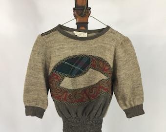 Koos Van Den Akker collectible designer vintage pullover sweater appliqué Mixed Media 4 XS