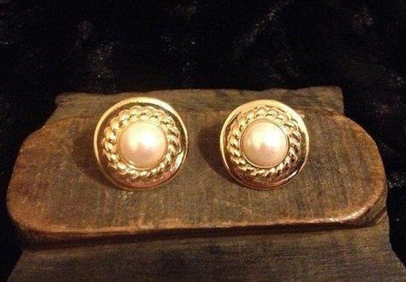SALE Vintage Cufflinks Made From Vintage Gold and Pearl Costume Earrings