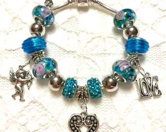 Cupid Love, European Style Charm Bracelet