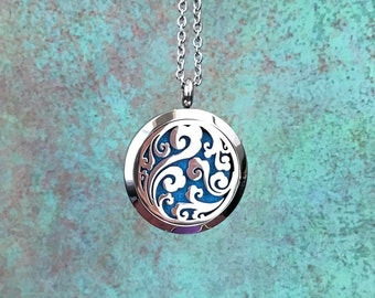 30mm Stainless Steel Essential Oil Diffuser Necklace, Ocean Wave Design, Aromatherapy, Homeopathy, Natural Healing, Silver