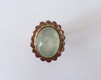 Vintage 1950's Cloudy Chalcedony Aqua Pastel Green Oval Flower Petal Statement Ring Gold Plated Silver