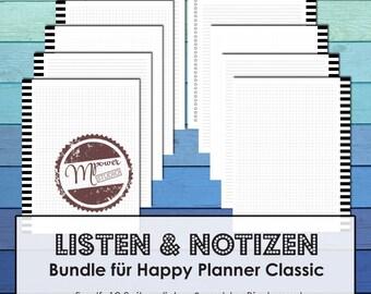 German Happy Planner Inserts Bundle | Happy Planner Einlagen in deutsch: Listen und Notizen. Refills fuer Happy Planner Classic.