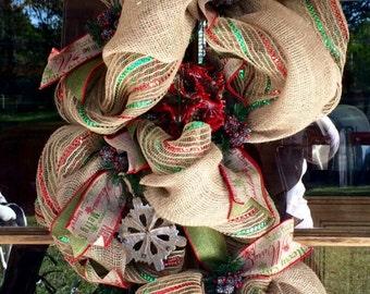 Country Christmas Burlap Door Swag Wreath